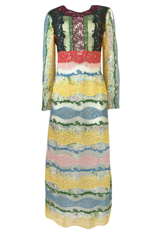 Resort 2016 Valentino Lace, Silk and Cotton Backless Patchwork Dress