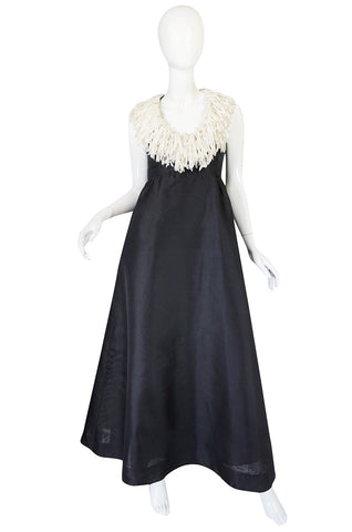 "1960s Black Silk Organza ""Feathered"" Collar Sarmi Dress"