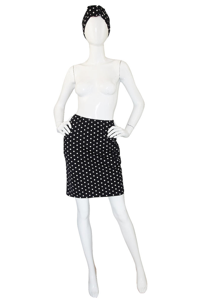 1980s Amazing Norma Kamali Dot Skirt & Turban