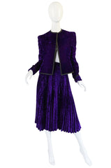 1970s Adolfo Purple Velvet Jacket & Pleated Skirt Suit