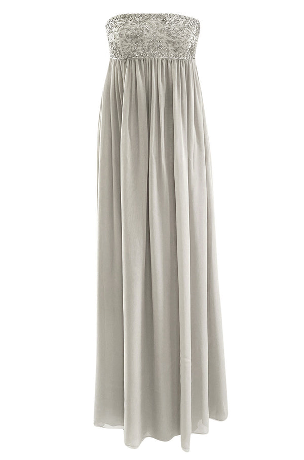 Spring 2006 Reem Acra Pale Grey Silk Chiffon Silver Rhinestone Beaded High Bodice Dress