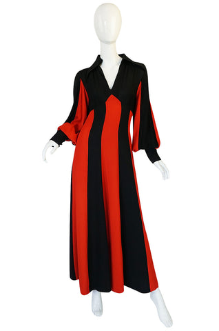 1960s Ossie Clark for Alice Pollock Red & Black Stripe Dress