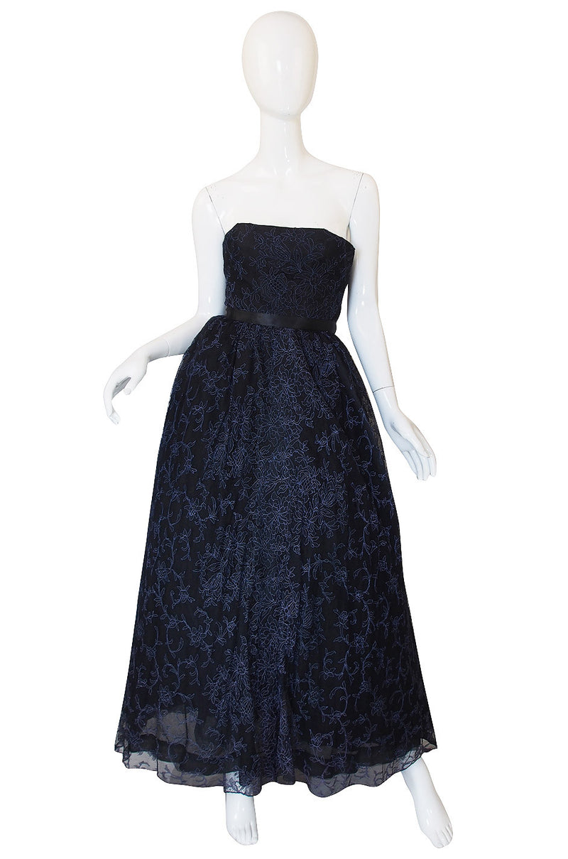 1950s Embroidered Net Creeds Strapless Gown