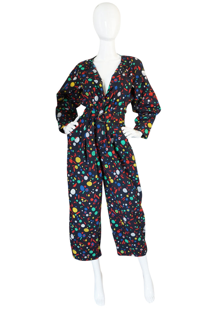 1980s Yves Saint Laurent Cotton Dot Print Jumpsuit
