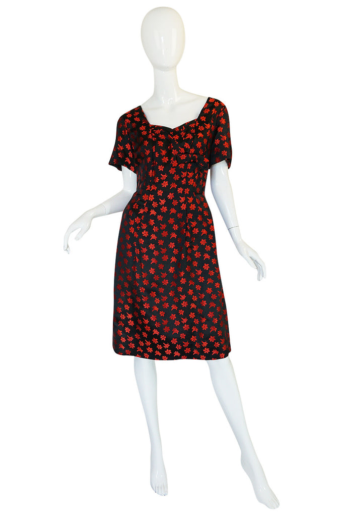 1950s Black Silk with Red Embroidered Floral Detail Dress