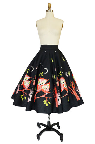 Wonderful 1950s Arts & Crafts Owl Print Cotton Circle Skirt