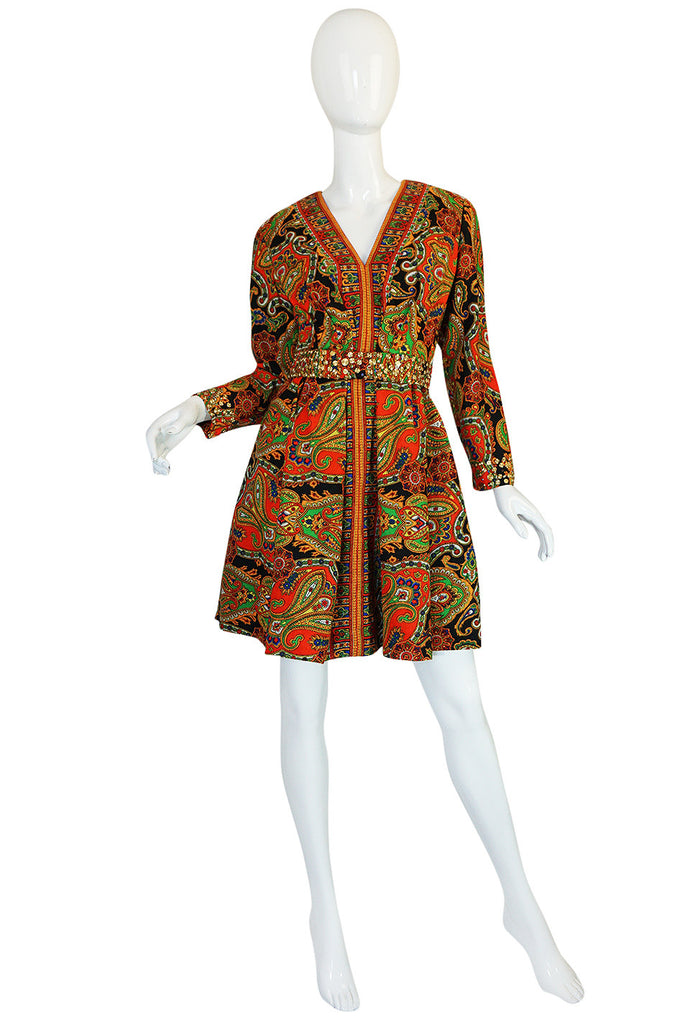 1960s Printed Fred Perlberg Mini Dress with Studded Detail