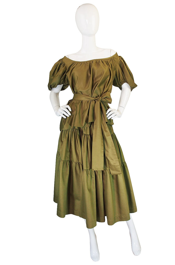 1970s Yves Saint Laurent Peasant Top and Skirt Set