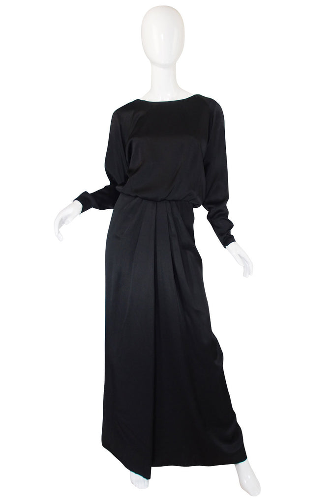1970s Matte Black Silk Satin Adolfo Gown