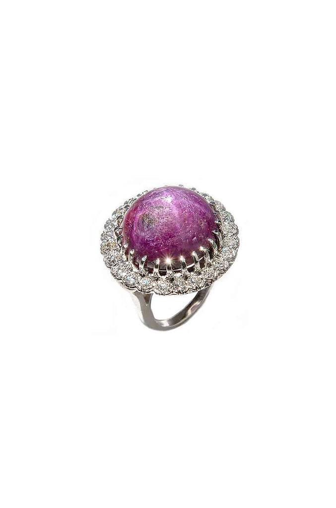 1930s 61.7 Carat Star Ruby Diamond Gold Cocktail Ring