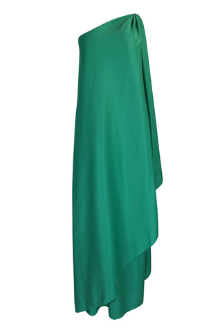 1970s Halston One Shoulder Green Draped Jersey Dress
