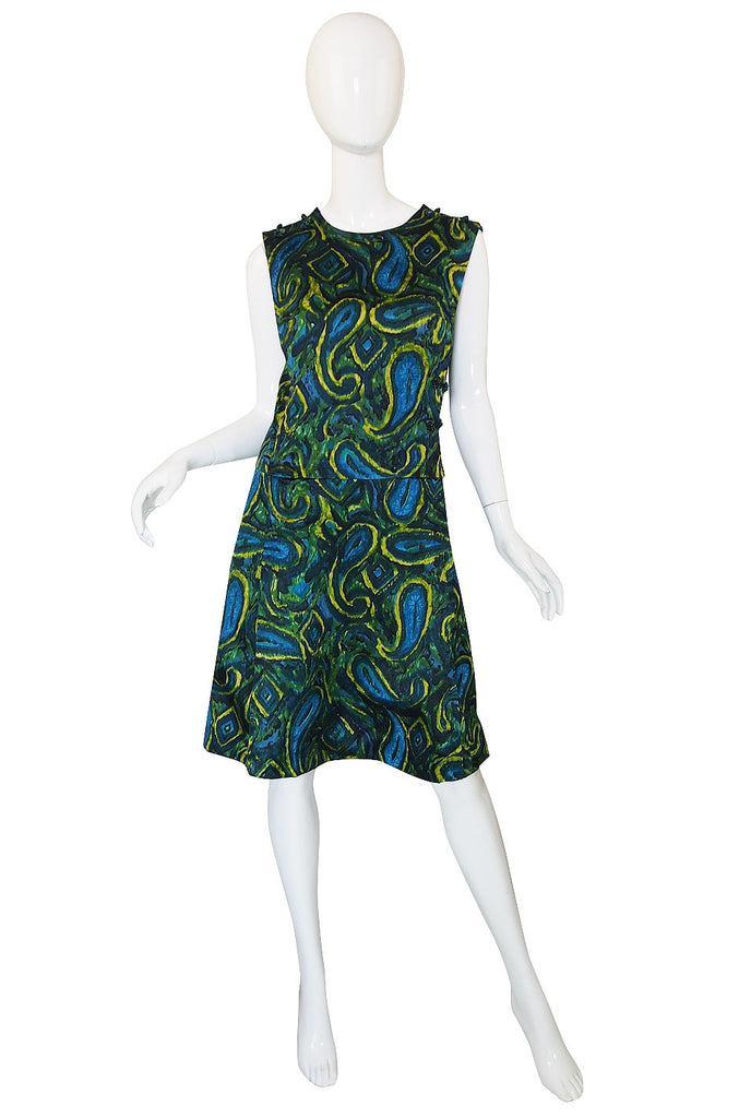 1960s Pretty Green & Blue Silk Shift Dress