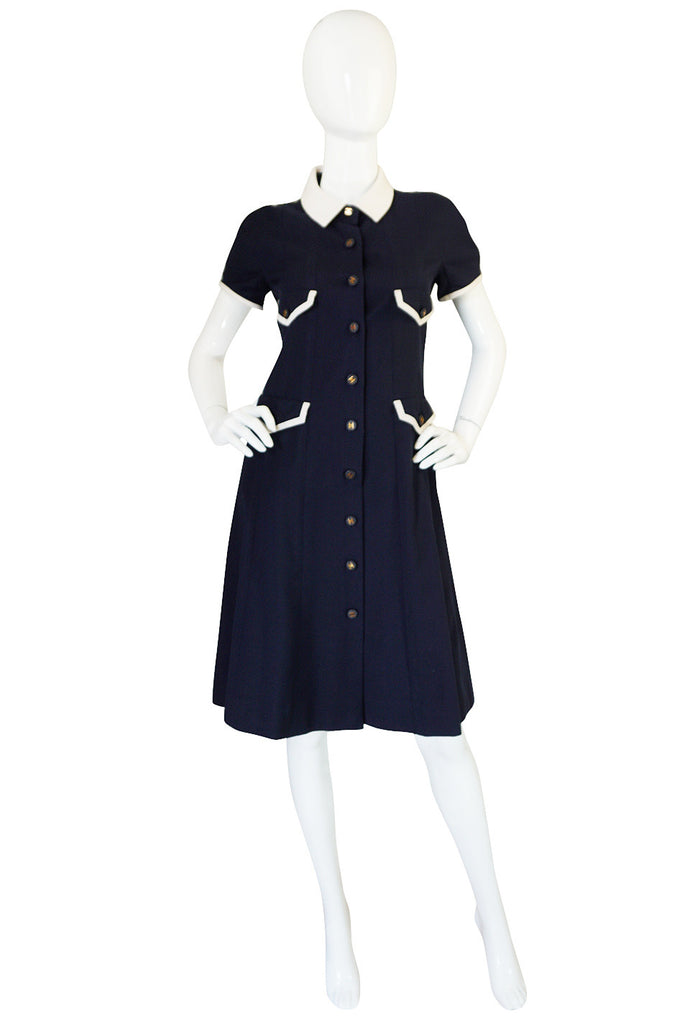Chanel 1993 Navy & White Waffle Weave Runway Dress