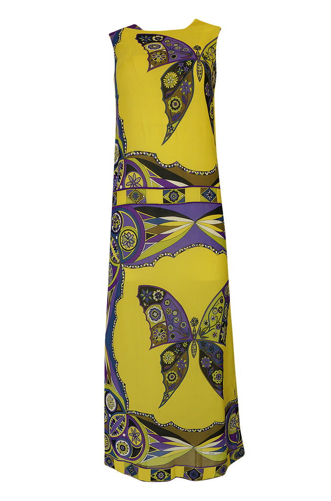 Beautiful 1960s Emilio Pucci Butterfly Printed Silk Chiffon Full Length Dress