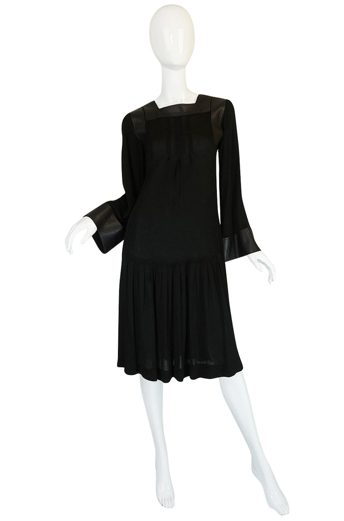 1970s Jean Muir Leather Embellished Black Jersey Dress