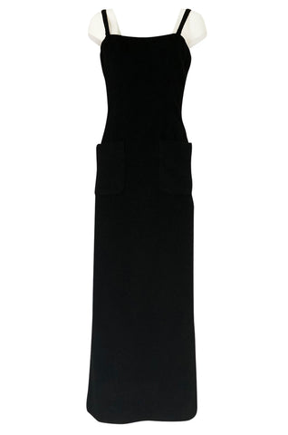 Extraordinary 1970s Bill Blass Black Cashmere Front Pocket Evening Dress