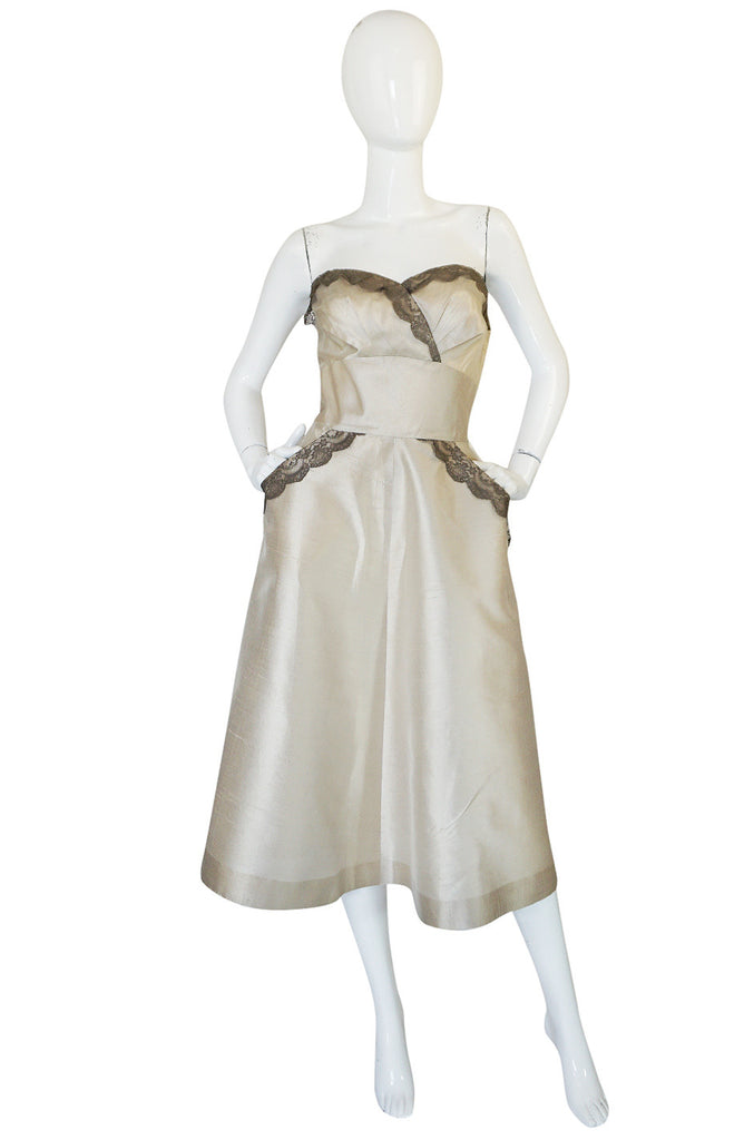 1950s Lace & Pearl Colored Silk Parnes Feinstein Dress