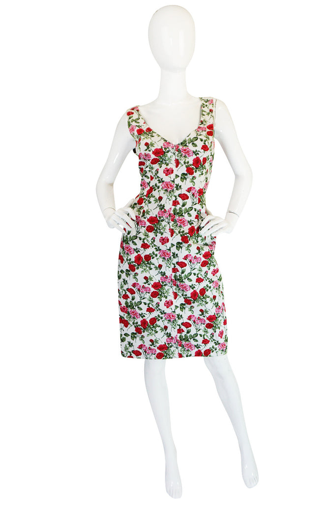 1990s Dolce & Gabbana Pretty Floral Fitted Dress