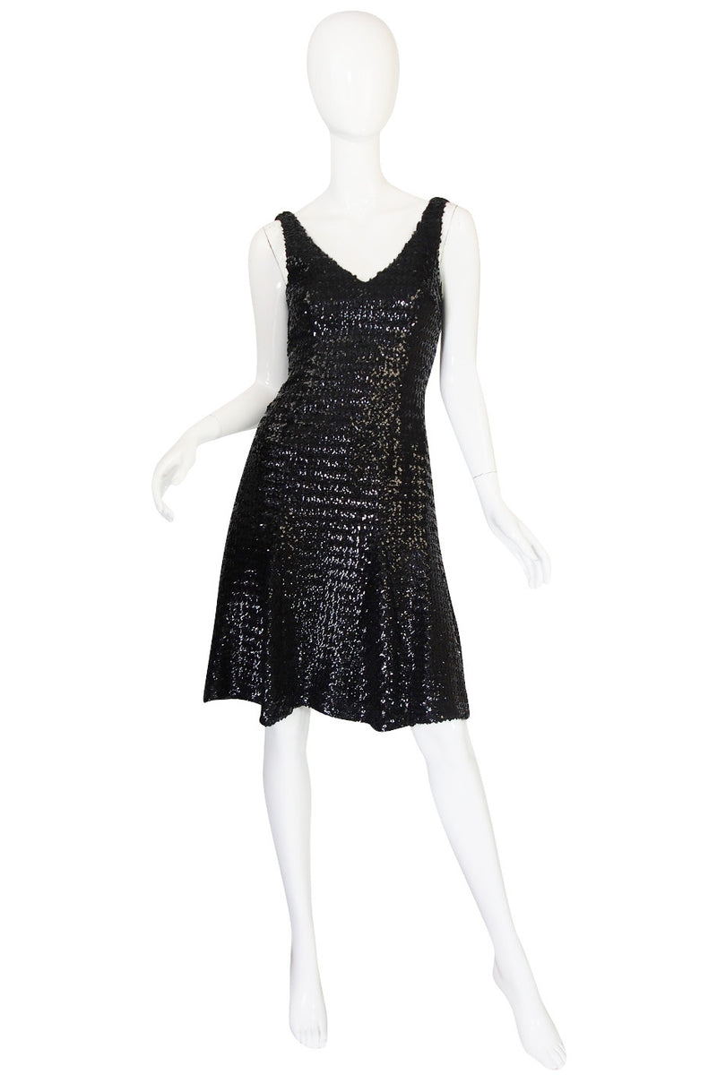 1970s Glossy Black Sequin Donald Brooks Dress
