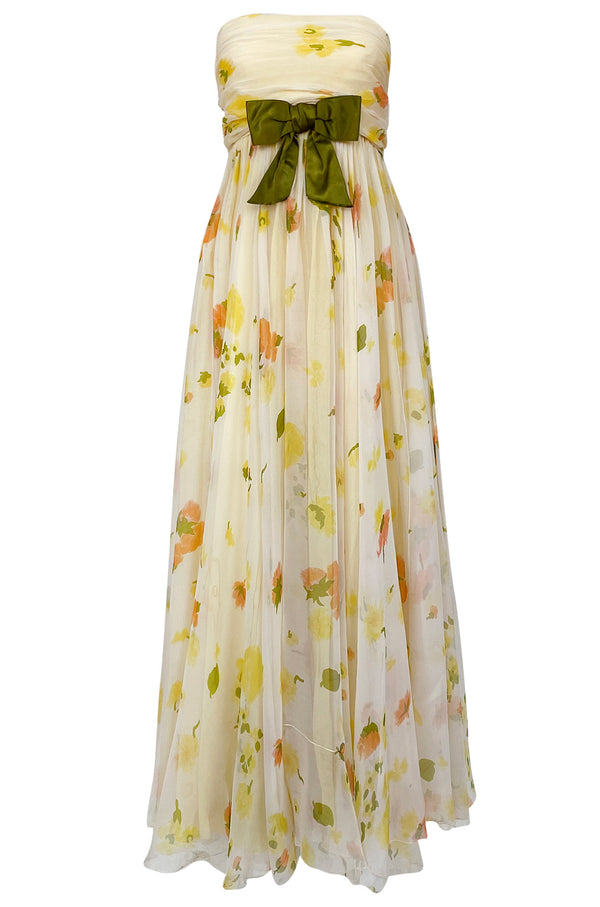 1961 Ferdinando Sarmi Strapless Yellow Floral Print Silk Chiffon Dress w Front Bow Detail