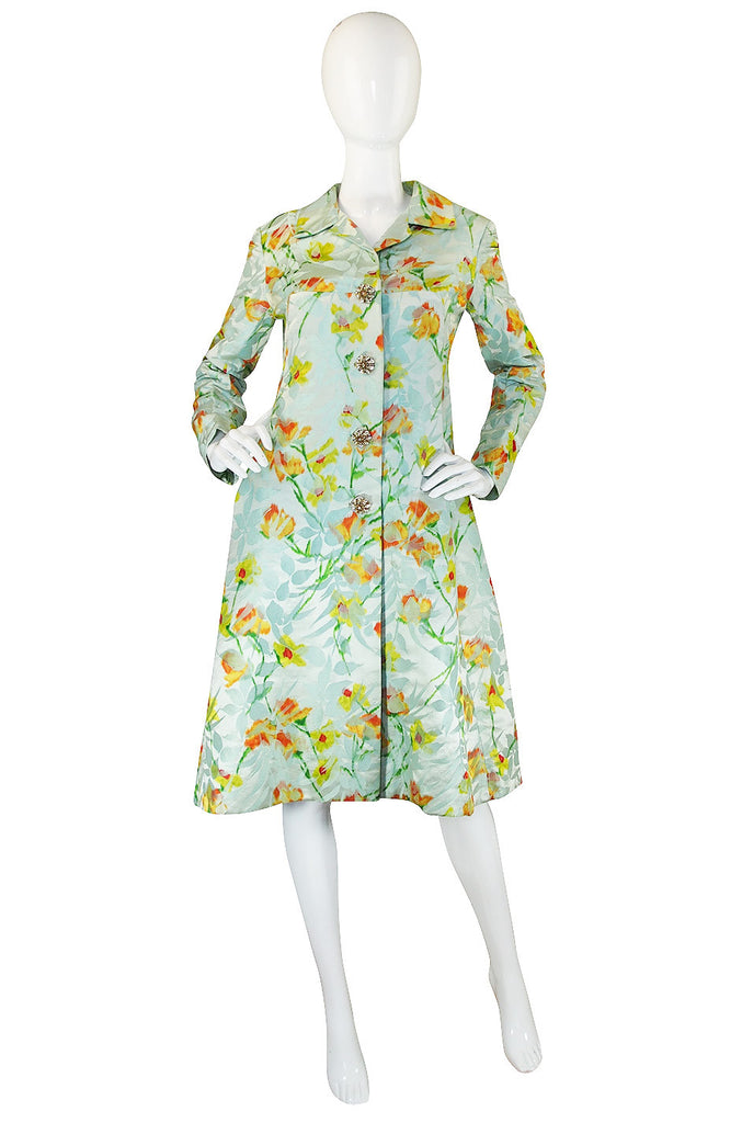 1960s Wonderful Kiki Hart Silk Brocade Coat