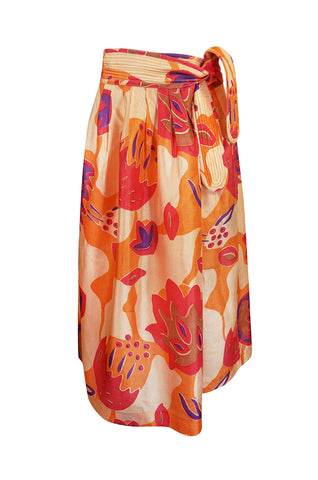 1970s Bill Tice Printed Oversized Floral Tissue Silk Peach Skirt