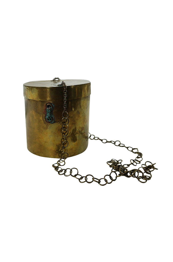 Unusual 1970s Round Brass Bucket Bag on a Chain
