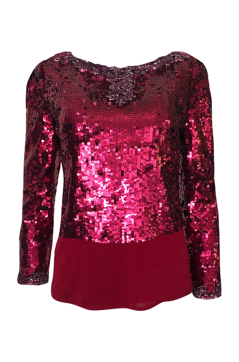 1980s Bill Blass Couture Red Sequin & Bead Deep Low V Back Top