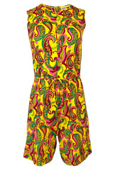 1960s Jeanne Lanvin Yellow & Pink Printed Jersey Playsuit Romper