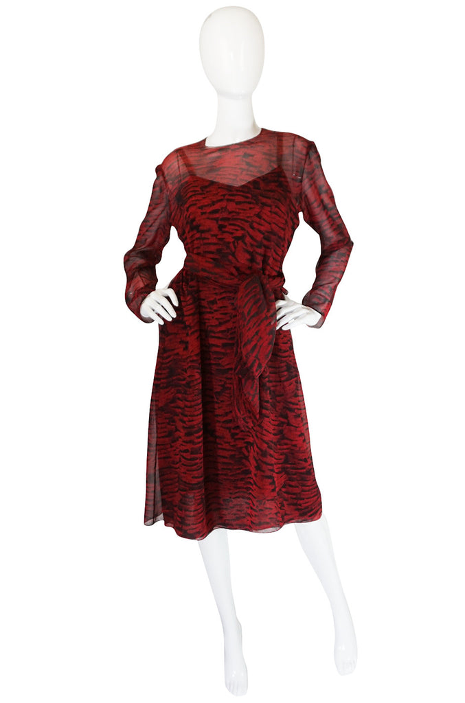 Three Piece 1970s Halston Printed Crepe Chiffon Dress Set