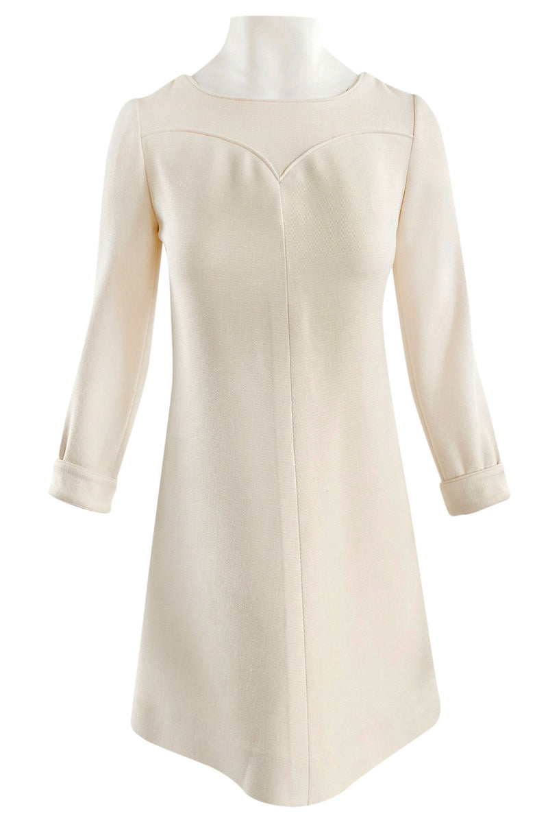 c.1966 Andre Courreges Haute Couture Textured Cream A-line Dress