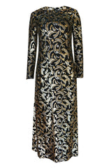 1970s Galanos Metallic Silver & Gold Lurex on Black Silk Dress