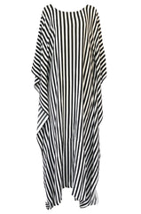 "F/W 2016 Jaline ""Martina"" Custom Striped Silk Black and White Caftan"