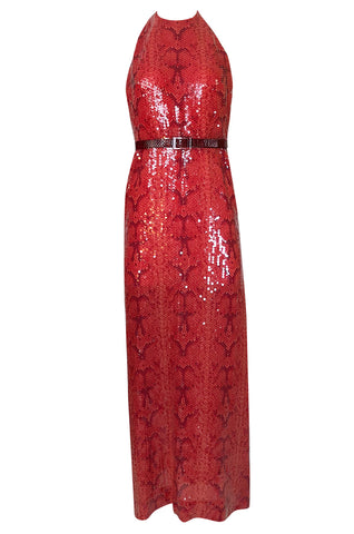 Documented 1974 Bill Blass Red Sequin Snakeskin Print Halter Dress