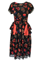 c.1974 Karl Lagerfeld for Chloe Dragon & Butterfly Printed Silk Day Dress