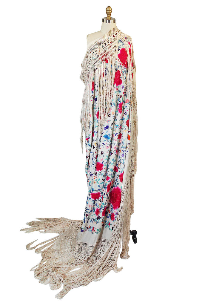 Extraordinary 1920s Silk Embroidered Piano Shawl