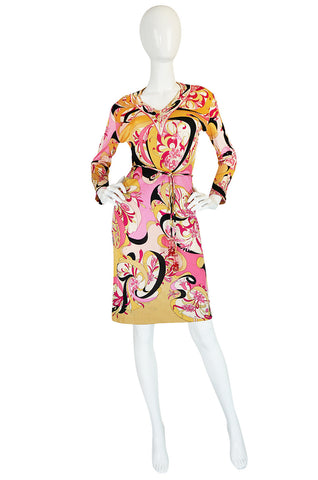 1960s Pucci Pink Silk Jersey Dress w Coppola Crystal Belt