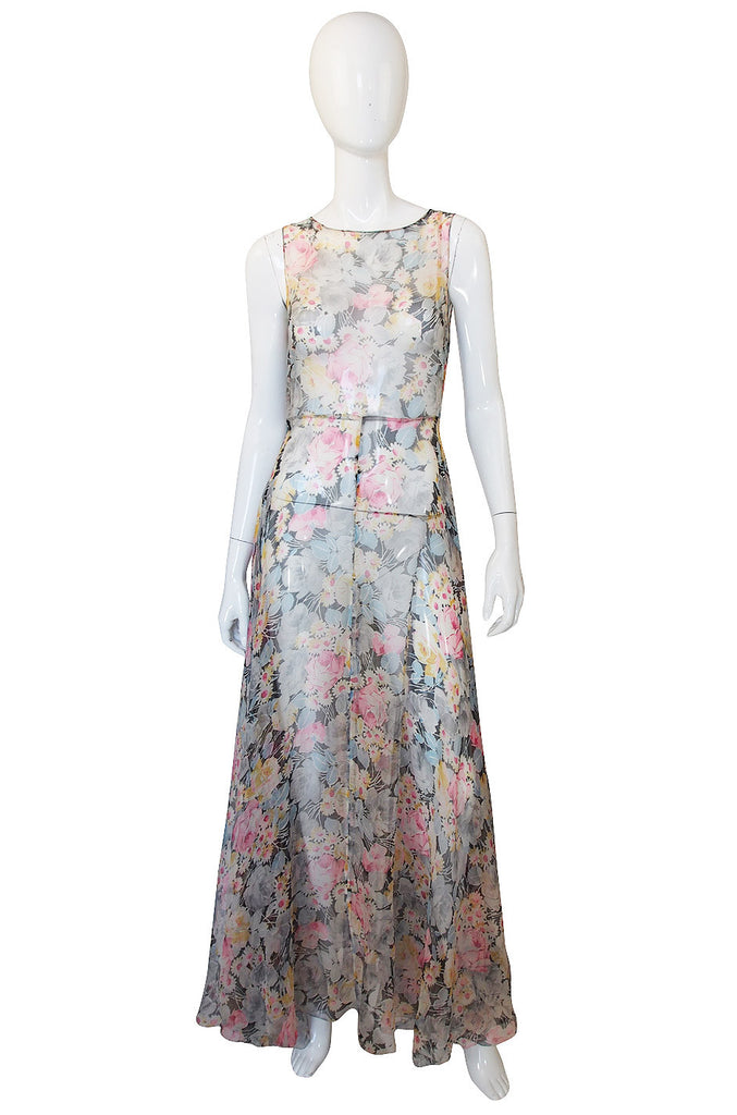 1920s Etheral Silk Chiffon Floral Flapper Gown