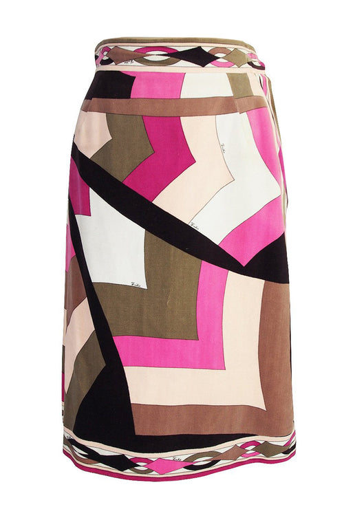 1960s Emilio Pucci Pink & Taupe Geometric Print Velvet Skirt - 25% OFF TAKEN AT CHECKOUT
