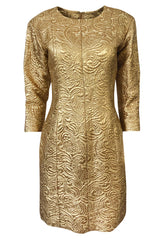 Spring 1991 Yves Saint Laurent Documented Gold Brocade Shift Dress