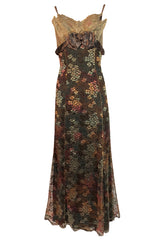F/W 1995 Christian Lacroix Stunning Metallic Gold & Copper Lace Dress