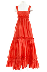 Resort 2008 Oscar de la Renta Look 56 Bright Coral Silk Full & Open Tiered Runway Dress