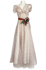 1930s Unlabeled Deep Blush Silk Ribbon Organza Dress w Slip & Floral Belt