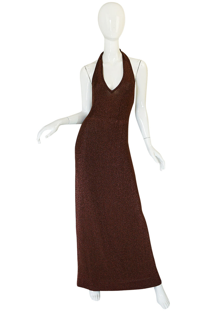 c1973 Copper Lame Lurex Plunging Halter Halston Dress