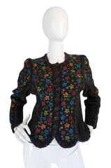 Darling 1970s Hand Knit Multi-Color Floral Sweater