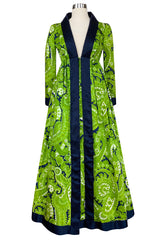 Spring 1969 Geoffrey Beene Well Documented Green Print Hostess Dress