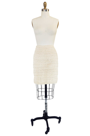 1980s Stretch Cream Knit & Cord Kritzia Mini Skirt