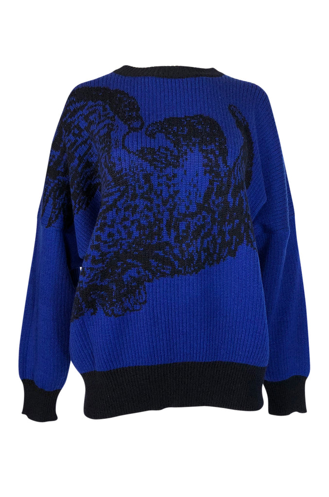 1980s Yves Saint Laurent Oversized Eagle Print Blue Wool Sweater