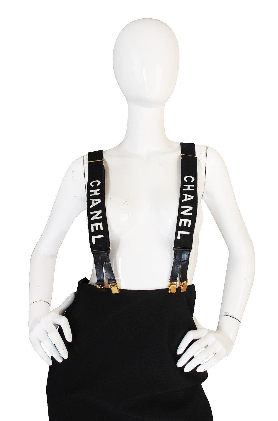 chanel suspenders. early 2000s iconic vintage chanel suspenders