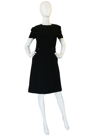 1960s Demi-Couture Level Black Wool Crepe Shift Dress